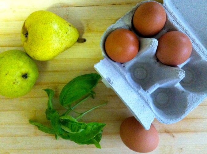 Pears, basil and eggs